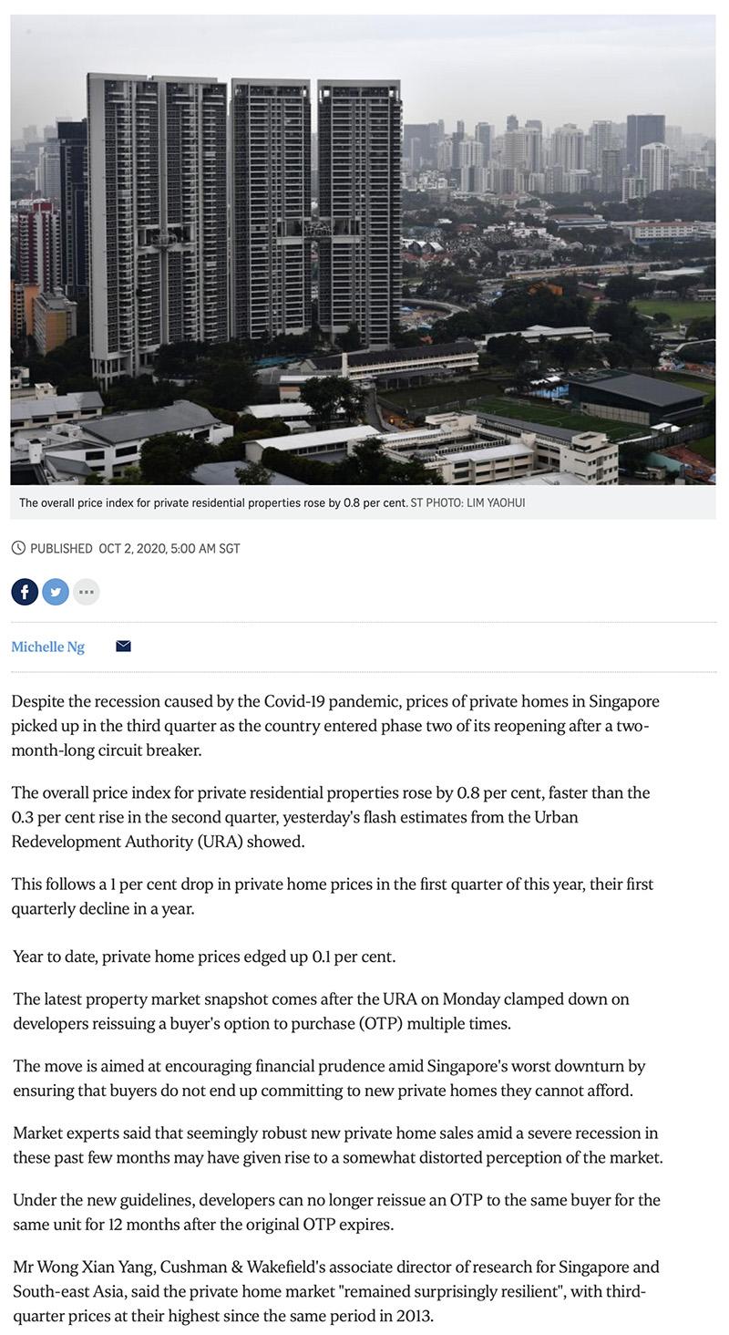 Pasir Ris 8 - Private home prices rise faster in Q3 despite Covid-19 recession 1