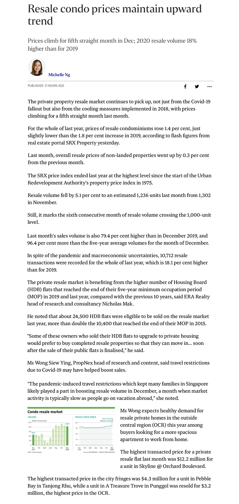 Pasir Ris 8 - Resale condo prices maintain upward trend