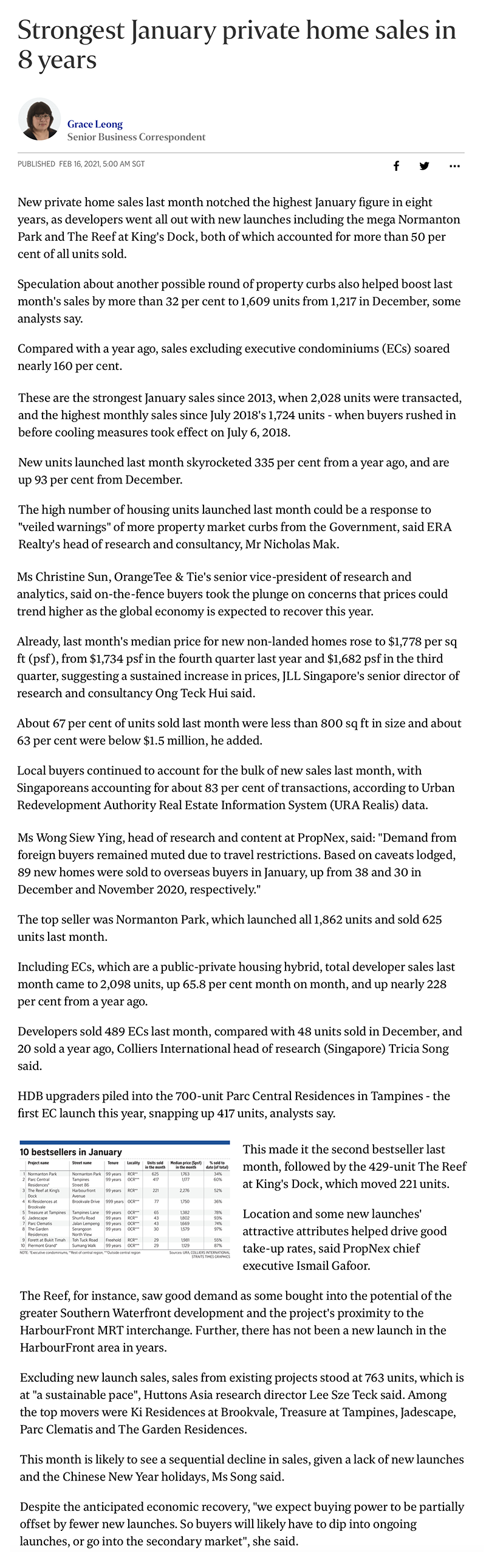 Pasir Ris 8 - Strongest January private home sales in 8 years
